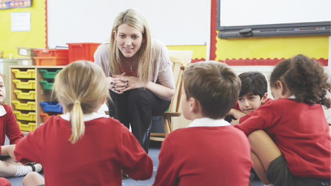 Teacher talking to a group of primary aged children on the carpet